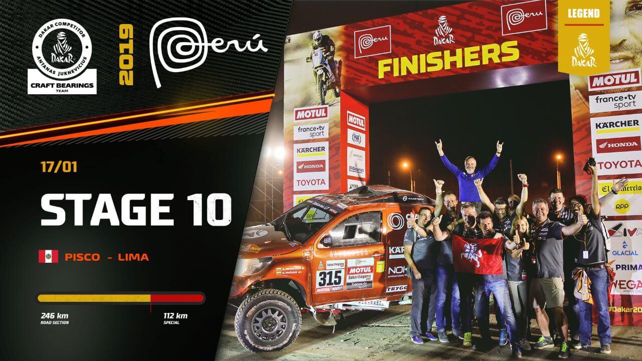Dakar Rally 2019. Antanas Juknevicius Stage 10 Highlights and Finish Podium